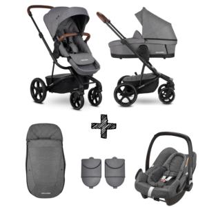 Kinderwagen Easywalker Harvey3 Premium Diamond Grey inclusief Autostoel Maxi-Cosi Rock & Accessoirepakket