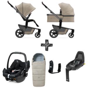 Set Compleet | Kinderwagen Joolz Hub+ Timeless Taupe + Voetenzak & Autostoel & Base & Adapterset