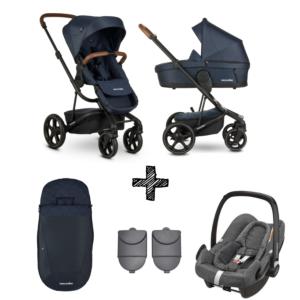 Kinderwagen Easywalker Harvey3 Premium Sapphire Blue inclusief Autostoel Maxi-Cosi Rock & Accessoirepakket