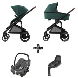 Kinderwagen Maxi-Cosi Plaza+ Essential Green inclusief Autostoel Rock & Base