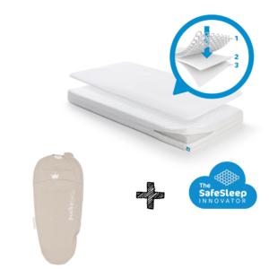 Matras Aerosleep Sleep Safe Essential Pack 60x120 + Slaapzak Puckababy PIEP 0-3mnd Stripe Sand