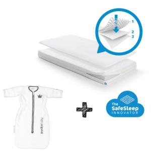Matras Aerosleep Sleep Safe Essential Pack 60x120 + Slaapzak Puckababy Bag Newborn 0-6mnd Winter Moscow
