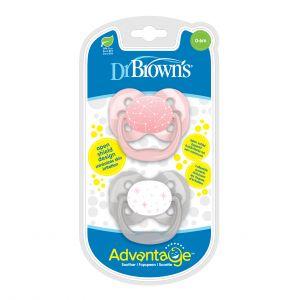 Dr. Brown fopspeen 2st. Fase 1 Roze/Grijs