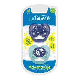 Dr. Brown fopspeen 2st. Fase 1 Blauw/Mint
