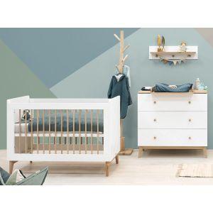 Babykamer Bopita Paris Wit/Eiken (Ledikant + Commode)