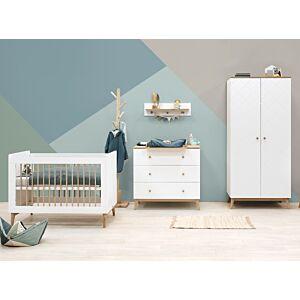 Babykamer Bopita Paris Wit/Eiken (2-deurs) incl. Matras en Wandrek