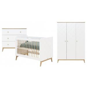 Babykamer Bopita Paris Wit/Eiken (3-deurs)