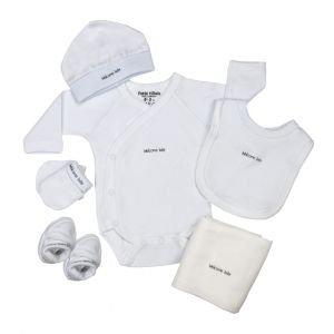 Giftset Petit Villain 6-delig Welcome Baby Wit 0-3mnd