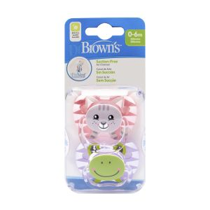 Dr. Brown's Fopspeen 2st. Animal Face Roze Fase 1
