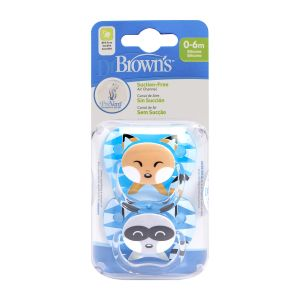 Dr. Brown's Fopspeen 2st. Animal Face Blauw Fase 1