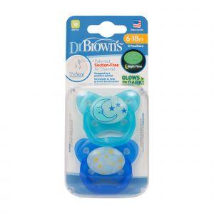 Dr. Brown's Fopspeen 2st. Blauw Glow Fase 2
