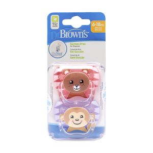 Dr. Brown's Fopspeen 2st. Animal Face Roze Fase 2
