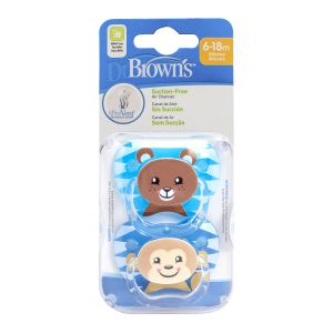 Dr. Brown's Fopspeen 2st. Animal Face Blauw Fase 2