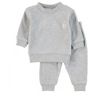 Pyjama Baby Feetje Wafel Grey Melange Maat 56 t/m 86
