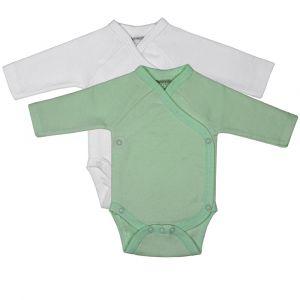 Romper Petit Villain Organic Long Sleeve MT50-56 Mint/Wit 2st