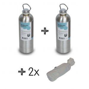 SET | 2x Kruik Aluminium + 2x Kruikenzak Badstof GRIJS