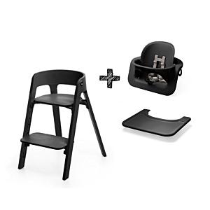 Kinderstoel Stokke® Steps™ 349706 Black/Black + Babyset Black + Gratis Stokke Eetblad