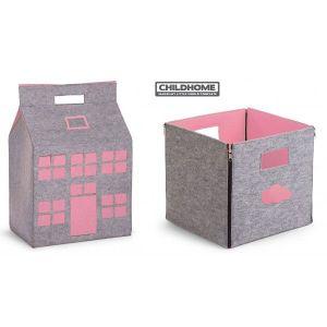 Vilten Set | Speelgoedmand Huisje + Opbergbox Childhome Grijs/Roze