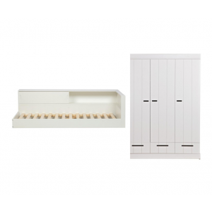 Kinderkamer Woood Connect Hoekbed Wit + Kast 3-deurs Stroken Wit