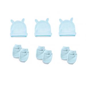 Babyset Babyjem Blauw | 3x Muts Oortjes / 3x Krabwant Mouwtjes