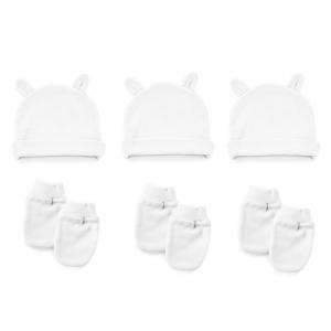 Babyset Babyjem Wit | 3x Muts Oortjes / 3x Krabwant Mouwtjes