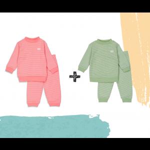 Set   2 Feetje Pyjama's   Wafel Groen + Roze Summer Edition   Maat 56 t/m 128