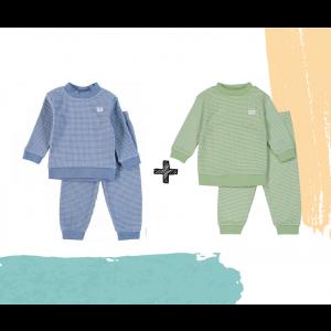 Set   2 Feetje Pyjama's   Wafel Groen Summer Edition + Blue Melange   Maat 56 t/m 128