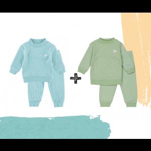 Set   2 Feetje Pyjama's   Wafel Groen Summer Edition + Green Melange   Maat 56 t/m 128