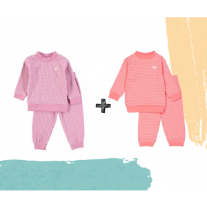 Set   2 Feetje Pyjama's   Wafel Pink Melange + Roze Summer Edition   Maat 56 t/m 128