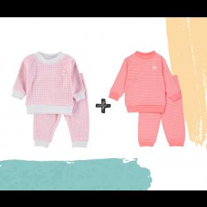 Set   2 Feetje Pyjama's   Wafel Pink + Roze Summer Edition   Maat 56 t/m 128
