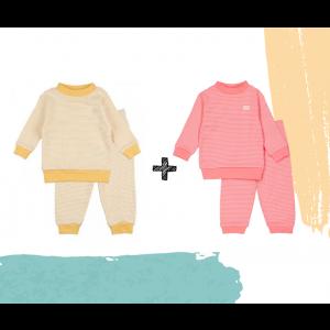 Set   2 Feetje Pyjama's   Wafel Yellow + Roze Summer Edition   Maat 56 t/m 128
