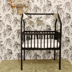 Wieg / Co-sleeper Bedside House Black 40x80