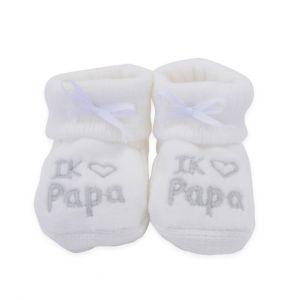 Babyslofjes | Ik ♥ papa | Wit