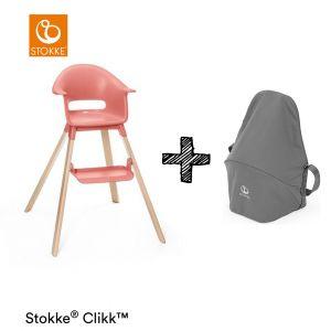 Kinderstoel Stokke® Clikk Sunny Coral + Gratis Reistas