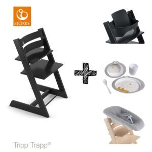 SET | Kinderstoel Stokke® Tripp Trapp® Black met Newbornset & Babyset & Done by Deer Eetset