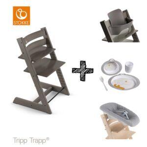 SET | Kinderstoel Stokke® Tripp Trapp® Hazy Grey met Newbornset & Babyset & Done by Deer Eetset
