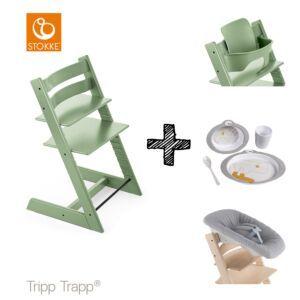 SET | Kinderstoel Stokke® Tripp Trapp® Moss Green met Newbornset & Babyset & Done by Deer Eetset