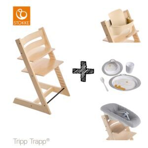 SET | Kinderstoel Stokke® Tripp Trapp® Natural met Newbornset & Babyset & Done by Deer Eetset