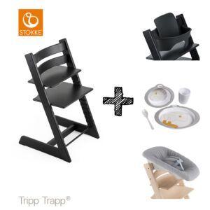 SET | Kinderstoel Stokke® Tripp Trapp® Oak Black met Newbornset & Babyset & Done by Deer Eetset