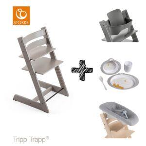 SET | Kinderstoel Stokke® Tripp Trapp® Oak Grey Wash met Newbornset & Babyset & Done by Deer Eetset