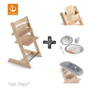 SET | Kinderstoel Stokke® Tripp Trapp® Oak Natural met Newbornset & Babyset & Done by Deer Eetset