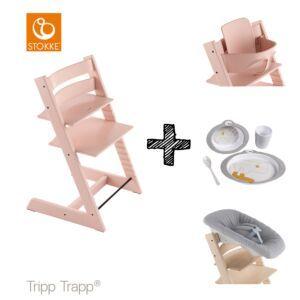 SET | Kinderstoel Stokke® Tripp Trapp® Serene Pink met Newbornset & Babyset & Done by Deer Eetset