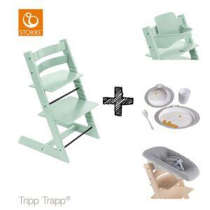 SET | Kinderstoel Stokke® Tripp Trapp® Soft Mint met Newbornset & Babyset & Done by Deer Eetset