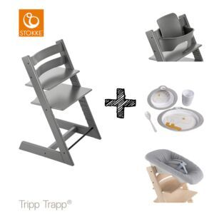 SET | Kinderstoel Stokke® Tripp Trapp® Storm Grey met Newbornset & Babyset & Done by Deer Eetset