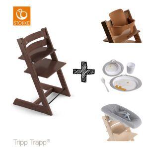 SET | Kinderstoel Stokke® Tripp Trapp® Walnut Brown met Newbornset & Babyset & Done by Deer Eetset