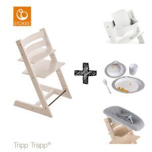 SET | Kinderstoel Stokke® Tripp Trapp® White Wash met Newbornset & Babyset & Done by Deer Eetset