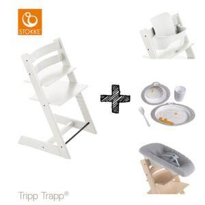 SET | Kinderstoel Stokke® Tripp Trapp® White met Newbornset & Babyset & Done by Deer Eetset