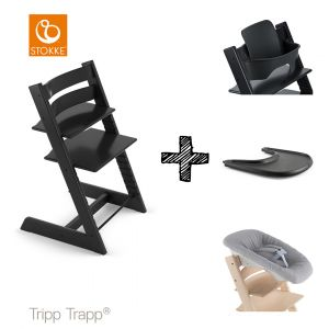 SET | Kinderstoel Stokke® Tripp Trapp® Black met Newbornset & Babyset & Gratis Eetblad