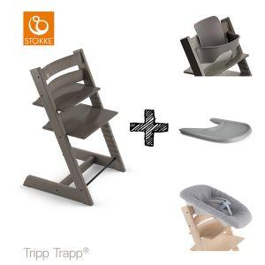 SET | Kinderstoel Stokke® Tripp Trapp® Hazy Grey met Newbornset & Babyset & Gratis Eetblad