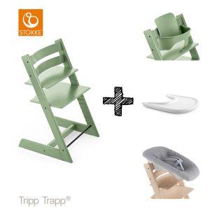 SET | Kinderstoel Stokke® Tripp Trapp® Moss Green met Newbornset & Babyset & Gratis Eetblad